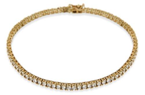 9ct Yellow Gold Round Cubic Zirconia Round Tennis Bracelet 19cm/7.5