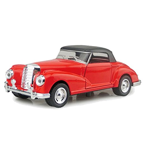 Kidcia Diecast Alloy Cars 1:32 Scale Collectible Vehicle Models Pull Backs with Light & Sound Classic Cars for Toddlers ( Button Cells Not Included ), Red