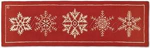 "Handmade Seasonal White Snowflake 100% Wool Holiday Christmas Hallway Runner Hooked Rug. 2' 6"" x 8'."