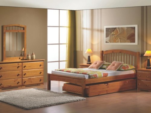 Fresh Full Arch Spindle Bed with Twin Trundle Honey Finish