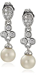 Platinum-Plated Sterling Silver Cubic Zirconia Freshwater Cultured Pearl Drop Bridal Earrings