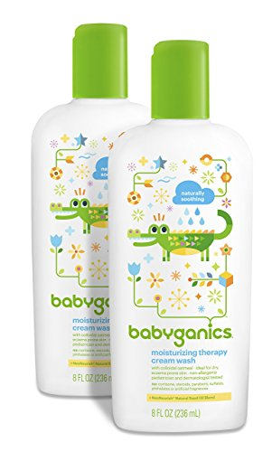 Babyganics Moisturizing Therapy Baby Cream Wash, 8oz Bottle (Pack of 2)