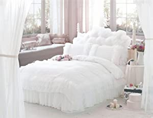 Diaidi,Luxuey White Bedding Set,Princess Lace Ruffle Comforter Set,Polka Dots Bed Sheet Set,Queen Size,4Pcs