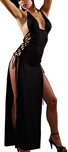 Paplan Donna Alta fessura Camicia da notte nera Split Cocktail Party Dress Club