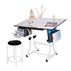 Martin Ashley Art-Hobby Table with Stool White Top 23-1/2-Inch by 35-1/2-Inch Size Surface