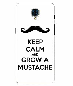 Snazzy Mustache Printed White Hard Back Cover For OnePlus 3