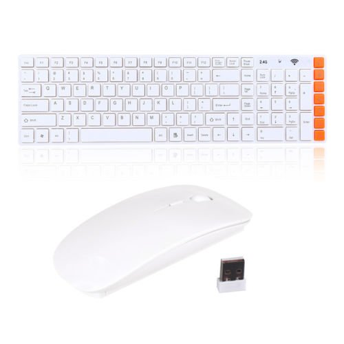 #>>  Slim 2.4g Multimedia Optical Wireless Keyboard and Mouse USB Receiver Kit White