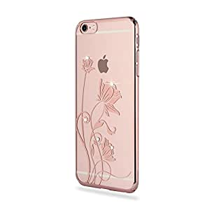 """iPhone 6 / 6s Case Clear Gold with Design - Swees Gold Plated Unique Pattern Sparkle Swarovski Crystals Ultra Slim Korean Case Cover for Apple iPhone 6 / 6s 4.7"""" inch , Bloomy Spring"""
