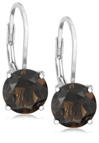 Sterling Silver 8mm Round Smoky-Quartz Lever Back Earrings