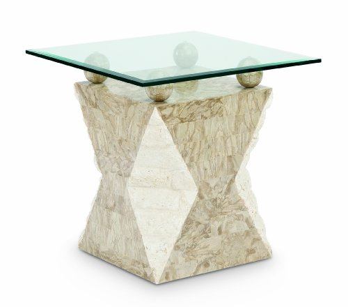 Cheap Magnussen Furniture Vertex Collection – Stone and Glass Square End Table (B005Y818JU)
