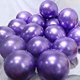 BALONAR 3.2g 12Inch 100pcs Metallic Chrome Balloon in Purple for Wedding Birthday Party Decoration (Purple) (Color: Purple)
