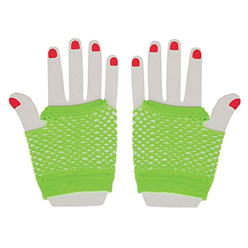 Neon Fishnet Fingerless Wrist Gloves Party Accessory - Neon Green - 1