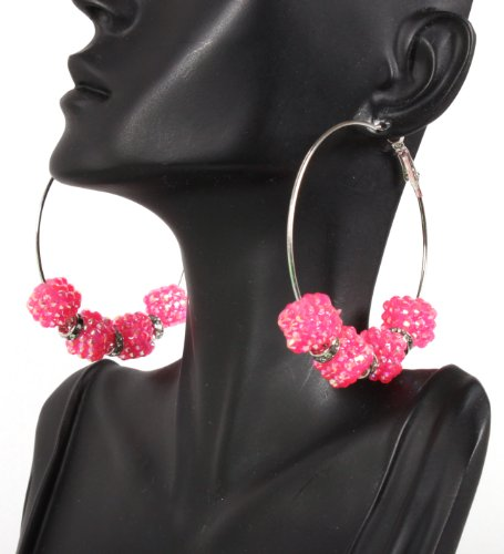 Basketball Wives Fuchsia 2.5 Inch Hoop Earrings with Four Shamballah Square Shaped Balls and Rondelle Spacers Lady Gaga Paparazzi Mob Wives