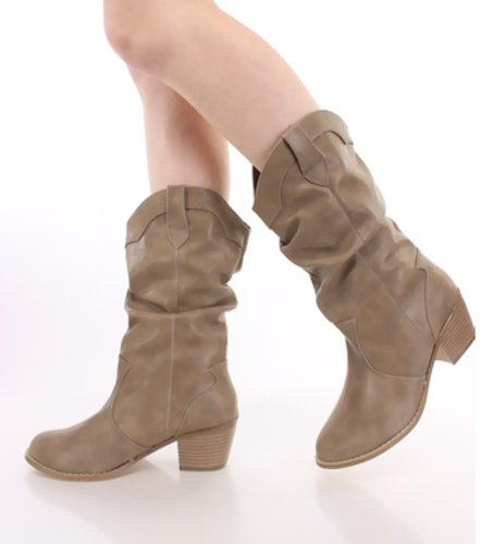 Women's Cowboy Mid Calf Slouchy Cowgirl Western Boots, 8 Available Colors