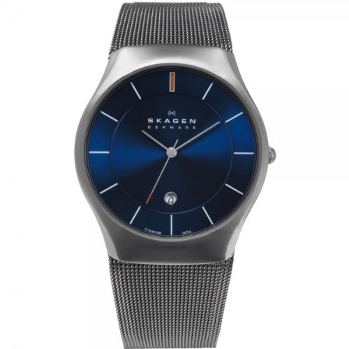 Skagen White Label Men's Quartz Watch with Blue Dial Analogue Display and Grey Titanium Strap 956XLTTN