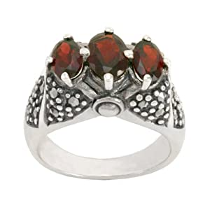 Sterling Silver Marcasite Triple Garnet Band Ring, Size 9