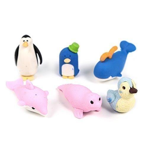 well-goal-6-pcs-novelty-cute-assortment-animals-penguin-sea-lion-shaped-rubber-erasers-set-for-kids-
