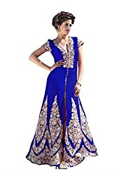 BanoRani Womens Royal Blue Color Faux Georgette Embroidery Full Length Anarkali Gown Style Semi Stitched Salwar Suit (Pant Style)