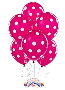 Party decoration Pink Polka dot balloons (12) latex by Qualatex