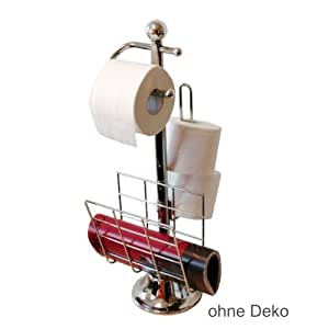 Relaxdays gmbh toilet butler w newspaper holder and toilet paper holder stainless for Bathroom butler toilet paper holder
