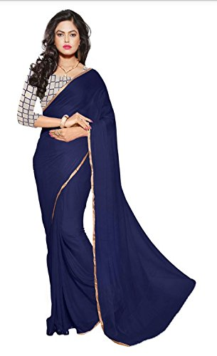 Aarohi Women's Chiffon Saree (A11809_Navy Blue)