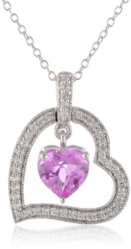 Sterling Silver, Created Pink Sapphire, and Created White Sapphire Heart Pendant Necklace