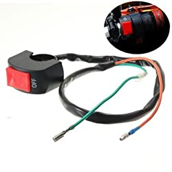 7/8in Motorcycle Motorbike Handlebar Headlight Fog Spot Light On Off Switch