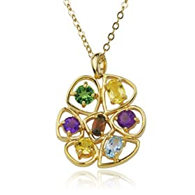 Yellow Gold Overlay Sterling Silver Multi-Gemstone Pendant
