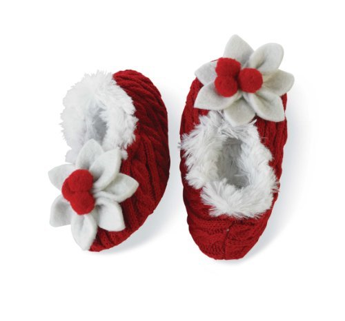 Mud Pie Baby Girl Booties With Poinsettias For Christmas (2T/3T)