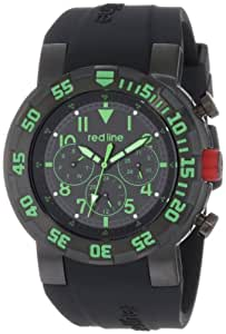 red line Men's RL-50027-BB-01GN RPM Black Dial Black Silicone Watch