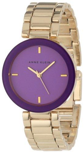 Anne Klein Women's AK/1290PRGB Purple Crystal Gold-Tone Bracelet Watch