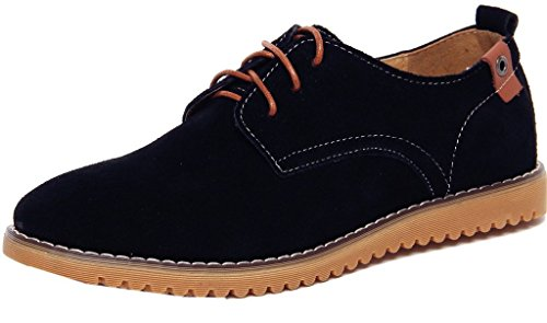 Kiwii Mens Fashion Lace-up Rubber Sole Flats Boards Round Toe Walking Business Oxfords Shoes(0.5 D(M) US, Black)