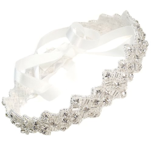 Mosaic Handmade Crystals Beads with White Satin Ribbon Tie Wedding Bridal Fashion Headband Hair Accessory