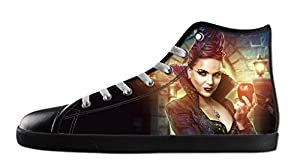 Custom Women's Once Upon a Time Canvas Shoes High-Top Black Rubber Casual Lace-up Soft Inner Sneaker-6M(US)