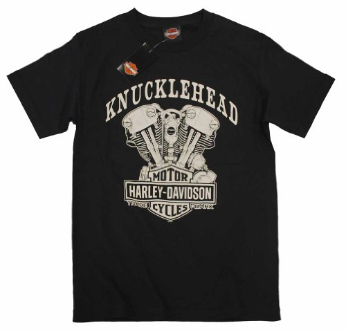 Harley-Davidson Men's Knucklehead Engine Short Sleeve T-Shirt Black 30298302 (L)