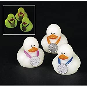 Two Dozen (24) Mini Glow-in-the-Dark Award Rubber Ducks