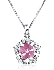 Uelfbaby Snowflake Flower Pendant Necklace For Women Girls Silver Crystal Pink
