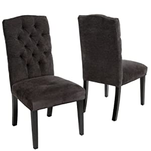 great deal furniture clark dark grey fabric tufted dining chairs set