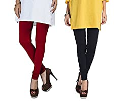 Rupa Softline Maroon and Black Cotton Leggings Combo (Pack Of 2)