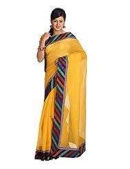 Ethnic Dukaan Women Cotton Self Print Yellow Saree