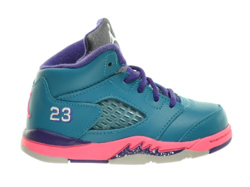 Jordan 5 Retro (TD) Baby Toddlers Basketball Shoes Tropical Teal/White-Digital Pink-Court Purple 440890-307 (5 M US)