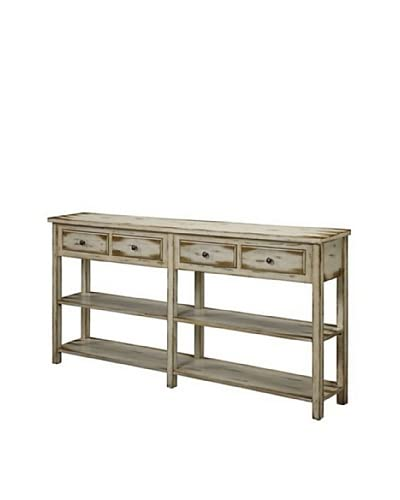 Coast to Coast 4-Drawer Console, Coffee/Antique White