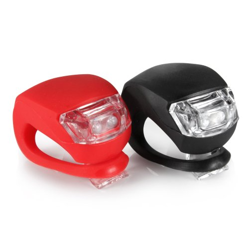 Silicone Frog Led Mtb Mountain Bike Cycling Light Front/Rear Safety Warning Lamp (2 Black Silicone White Light +1Red Silicone Red Light)