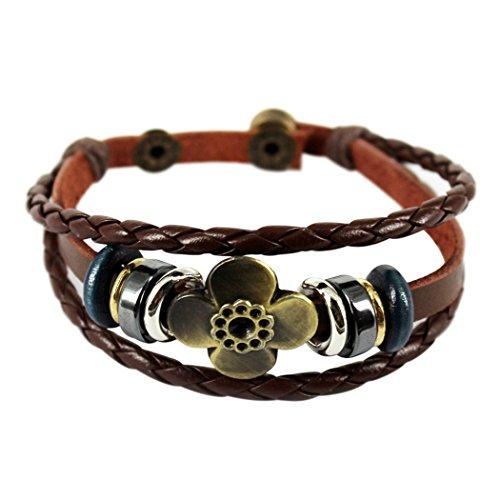 Wild Wind (TM) Women Brown Retro Unique Bronze Button Luck Braided Flower Leather Bracelet Present Cross (Jelly Bracelts)