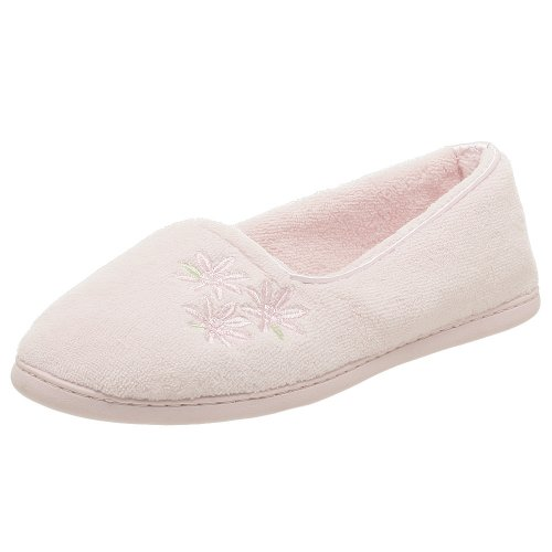 Cheap Dearfoam Women's Microfiber Terry Closed Back W/Embroidery Slipper Ballerina (B000UEBO6K)