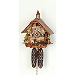 German Cuckoo Clock 8-day-movement Chalet-Style 12 inch - Authentic black forest cuckoo clock by Hekas