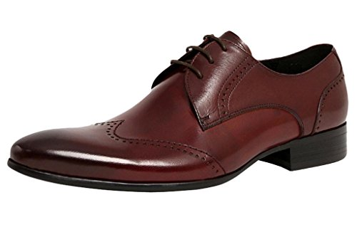 Farym Men'S Retro Slim Toe Wing-Tip Lace Up Formal Dress Real Leather Shoes Brown 44Eu