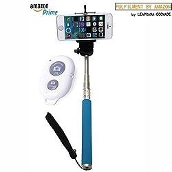 New Design Leapcama Self Portrait Monopod Selfie Stick With Phone Holder For Samsung iPhone Blackberry With Bluetooth Remote Camera Wireless Shutter (blueMonopod+WhiteRemote)