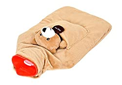 Equinox EQ-HT-03 Teddy Bear Style Hot Water Bottle with Soft Velvet Fleece (Brown)