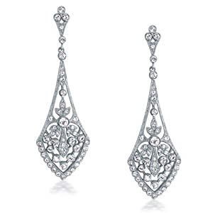 Bling Jewelry Art Deco Style Leaves Crystal Bridal Chandelier Earrings Rhodium Plated